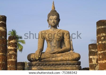 ancient buddha image statue at Sukhothai historical park Sukhothai province Thailand