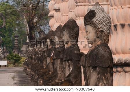 Ancient Buddha in Sala Kaew Ku, - Thai temple in hindu style, Nhongkhai Province Thailand - stock photo