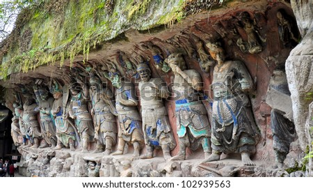 Ancient Buddhist Hillside Stone Carvings, Nine Dharmapalas (Protectors of the Law) - Baodingshan, Dazu, China