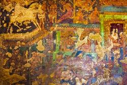 Ancient buddhist painting at Ajanta Caves near Aurangabad city in Maharashtra state of India