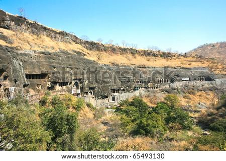 Ancient Buddhist Rock temples at Ajanta , Maharashtra, India