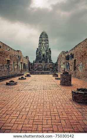 Ancient Buddhist temple, Ayutthaya, Thailand.