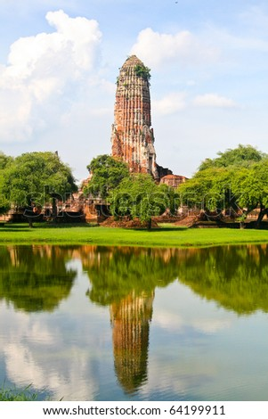 Ancient Buddhist temple in Ayutthaya historical park, Thailand. Khmer (Cambodian) style temple.