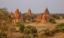 Ancient Buddhist temples in Bagan, Myanmar. Bagan is home to the largest and densest concentration of Buddhist temples, pagodas and stupas.