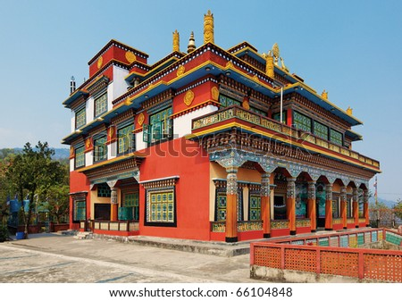 Ancient buddhistic temple architecture, Pokhara, Nepal