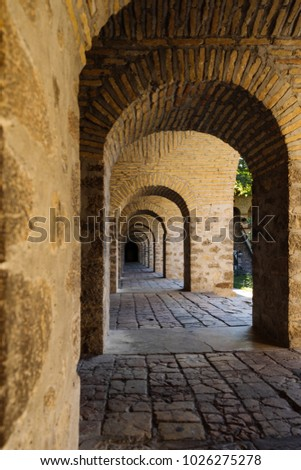 Ancient Building Cobbled Floor And European Architecture
