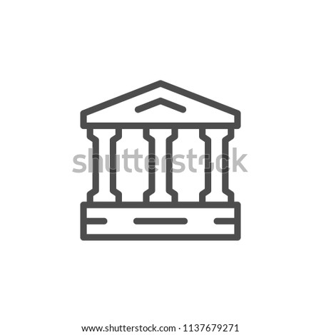 Ancient building line icon isolated on white