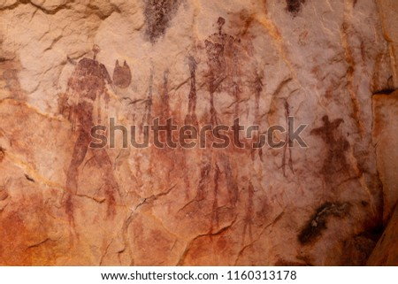 Ancient bushman drawings on rocks in the Kagga Kamma Nature Reserve in South Africa