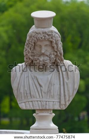 Ancient bust of the greek god Zeus in Petrodvorets. Saint-Petersburg, Russia