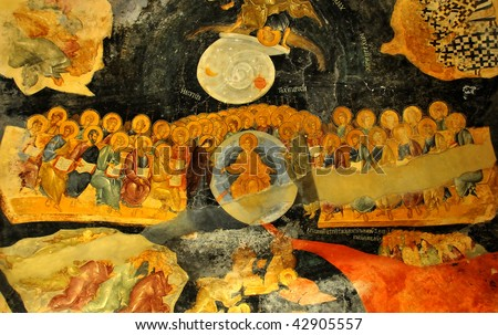 ancient byzantine fresco of the last judgement showing Jesus christ flanked by the virgin mary and john the baptist from the church of saint chora