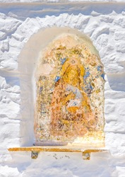 Ancient byzantine hand made picture of Madonna keeping Jesus Christe as a child, out of Hozoviotissa monastery in Amorgos island in Greece