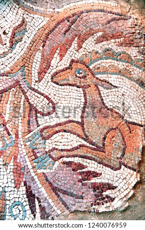 Ancient byzantine natural stone tile mosaics with running antelope and floral ornament, Madaba, Jordan, Middle East