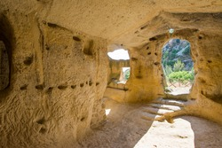 Ancient Byzantine Village Canalotto - Archaeological site in Calascibetta, Sicily, Italy