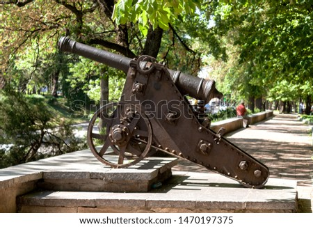 ancient cannon on the alley of the city park as a reminder of the past battles