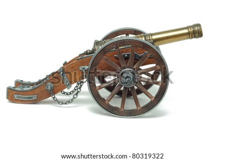 Ancient cannon on wheels isolated on white #80319322