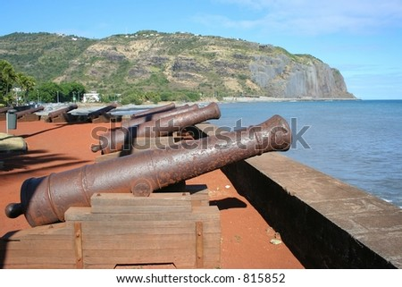 Ancient cannons in Reunion Island