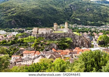 Ancient castle in the city Bellinzona, Switzerland