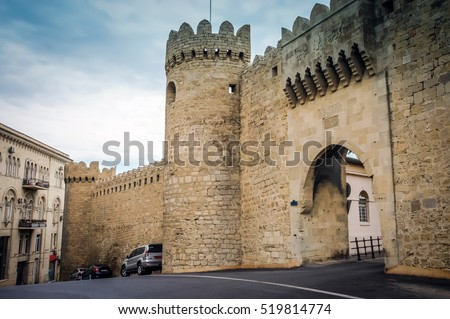 Ancient castle palace in Baku. Castle wall tower. Castle door gate. Castles walls and window. Castles isolated. Castles palace fort. Castles landscape. Castle background. Stone architecture. Medieval