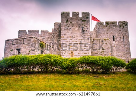 Ancient castle palace in Isle of Man. Castle wall tower. Castle door gate. Castles walls and window. Castles palace fort. Castle background. Stone architecture. Medieval Isle of Man castles