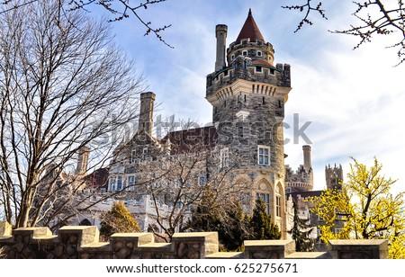 Ancient castle tower landscape. Fairytale castle medieval