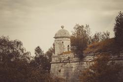 Ancient castle tower, Lviv region, western Ukraine, vintage treatment