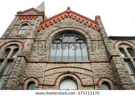 Ancient Cathedral in Isle of Man. Religion concept background. Religion Catholic chirch. Religion and Catholic symbol. Religions building as catholic concept. Old Cathedral stone facade