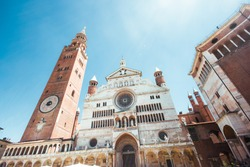 Ancient Cathedral of Cremona with famous Torrazzo bell tower and baptistery in Cremona, Lombardy, Italy