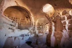 Ancient cave interior in Cappadocia, Turkey