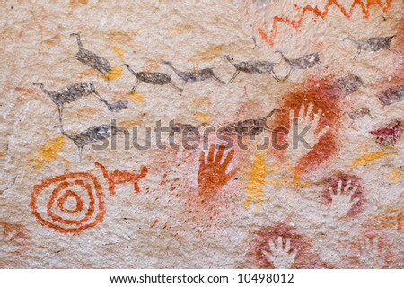 Ancient cave painting in Patagonia, Argentina