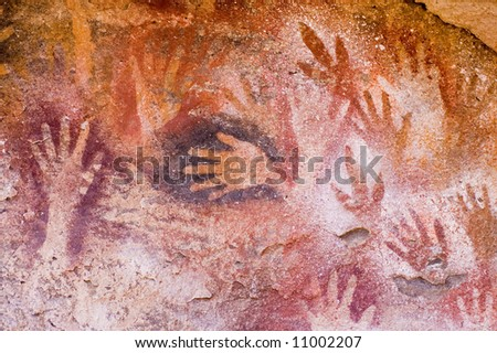 Ancient cave paintings in Patagonia, southern Argentina. - stock photo
