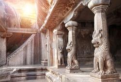 Ancient cave with animal column in Mamallapuram, Tamil Nadu, India