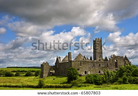 ancient celtic castle in quin, county clare, ireland