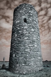 Ancient Celtic Round Tower at Sunset