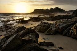 ancient Celtic settling at Castro de Barona, Galicia, Spain sunset
