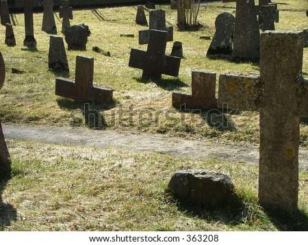 ancient cemetary ground - stock photo