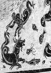 Ancient Centaur Serpent Mosaic Ruins Italica Roman City Outside Seville Andalusia Spain. Built in 206BC first Roman settlement in Spain and outside of Italy.