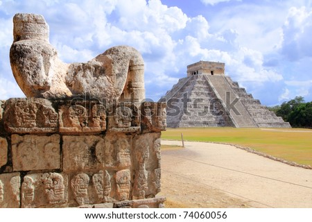 Ancient Chac Mool Chichen Itza human stone figure Mexico Yucatan [Photo Illustration]