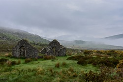 Ancient chapel ruins in wicklow mountains, Ireland
