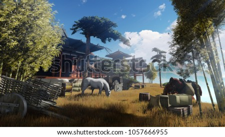 Ancient China. Halt. Silk Road. Horses near the old building.  Sunset. The rays of the sun permeate the morning mist. 3D rendering. Computer graphics.