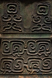 Ancient Chinese bronze pattern relief close-up