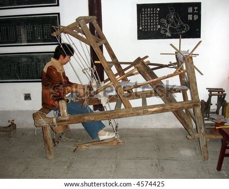 Ancient Chinese Loom being used in home factory in rural China