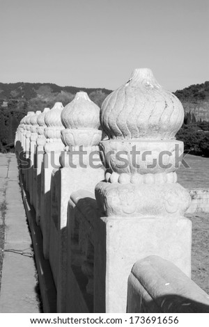 ancient Chinese traditional style of white marble stone bridge railings, in the Eastern Tombs of the Qing Dynasty, china #173691656