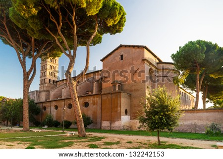 Ancient Christian church on the Aventine Hill in Rome Italy