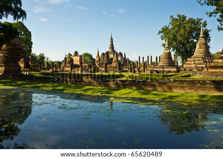 Ancient city in historic national park in Sukhothai province of Thailand