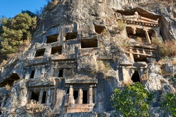 Ancient City of Telmessos, Tomb of Amyntas, Ancient Lycian rock tomb in Fethiye Turkey.