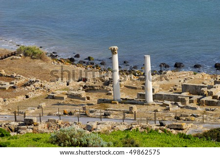 ancient city of Tharros founded by the Phoenicians in the eighth sec.ac. town of Cabras, Oristano, Sardinia. - stock photo