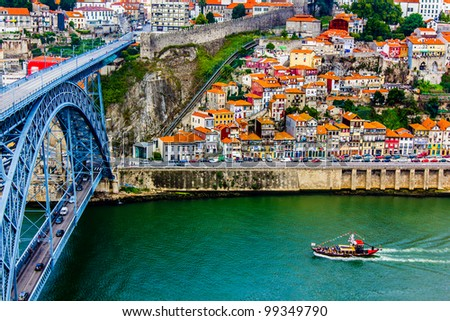 Ancient city Porto,metallic Dom Luis bridge