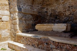 Ancient city ruins of Knidos in Datca peninsula, historical antique excavations, Hellenic stone architecture details, open air museum, cult site