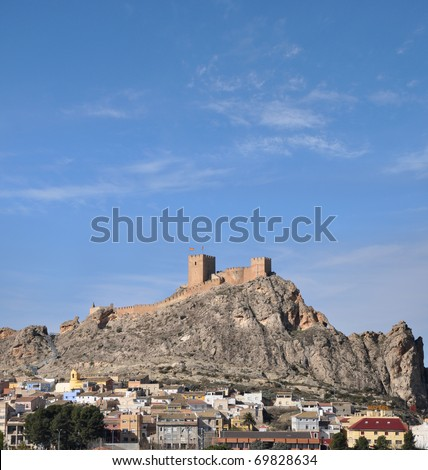 Ancient Civilization Castle Sax City Skyline Mountain Costa Blanca Alicante Spain Southern Europe