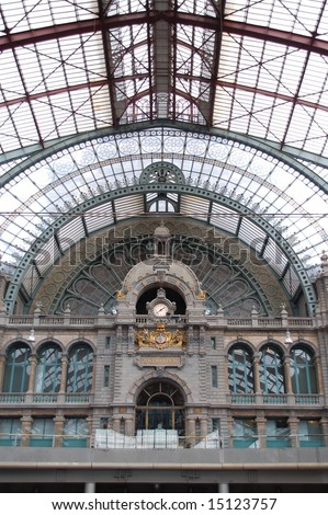 Ancient clock in Antwerp train station